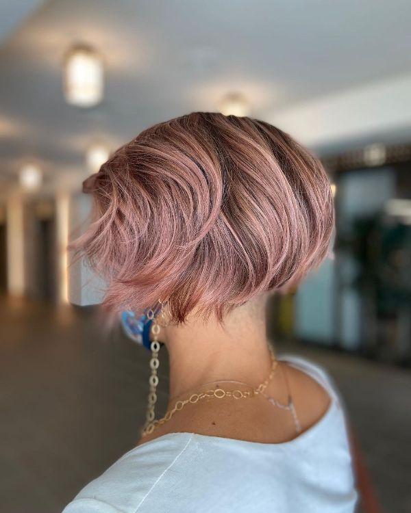 Pink Layered French Bob