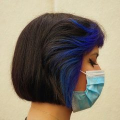 French Bob with Blue Highlights