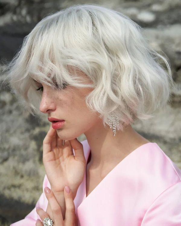 Platinum Blonde French Bob