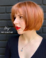 Bright Red French Bob
