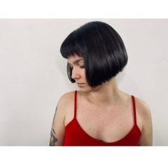 Blue Black French Bob Hairstyle