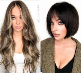 Dark Brunette French Bob for Blondes with Blue Eyes