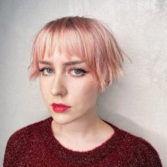 Pink Modern French Bob Haircut