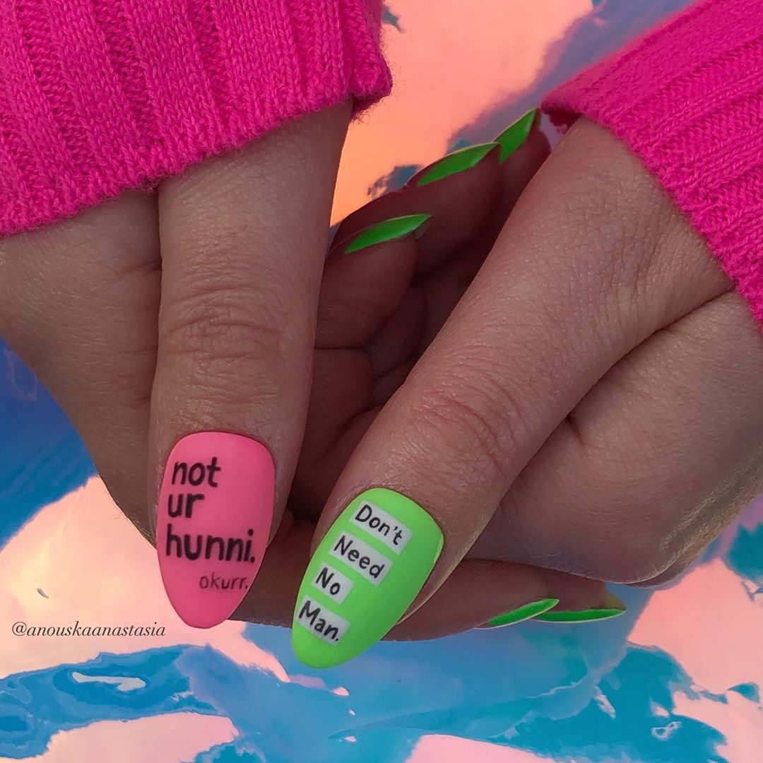 Pink and Green Nails with Letters