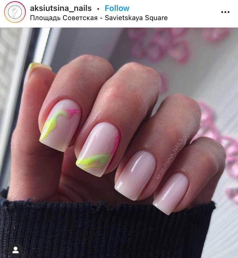 Pink and Green Nails