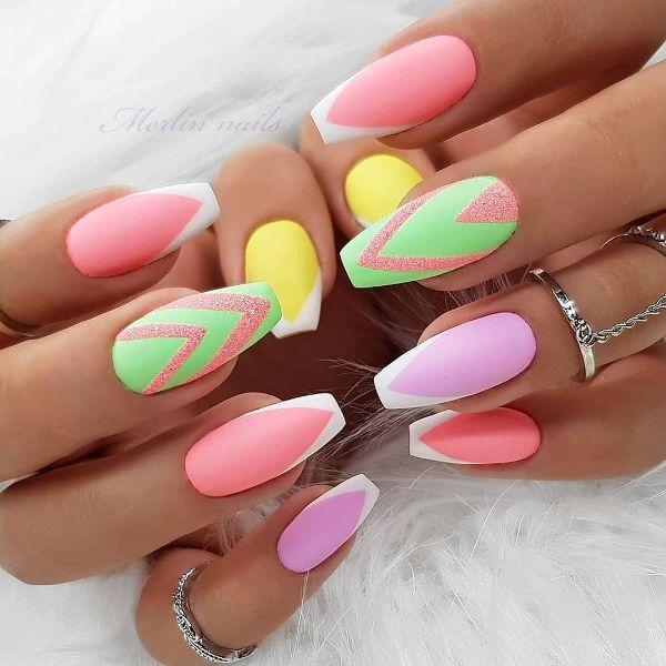 Green and Pink Nail Designs