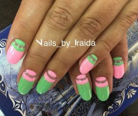 Green and Pink Moon Manicure