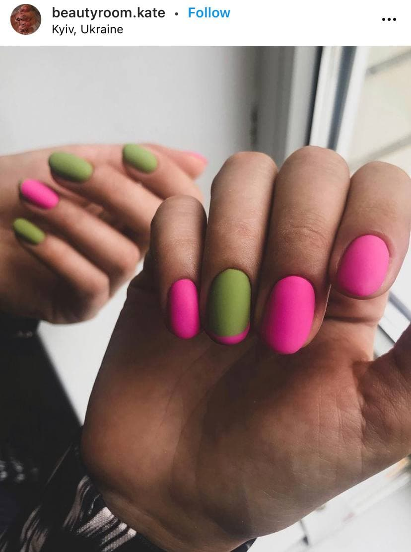 French Pink and Green Nails