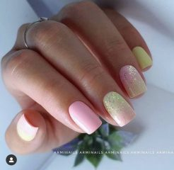 Very Light Pink and Green Nails