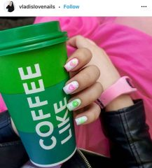 Cute Pink and Green Nails for Women