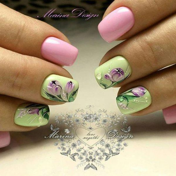 Pink and Green Nails for Women