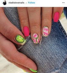 Pink and Green Nails for Summer with Fruit Design