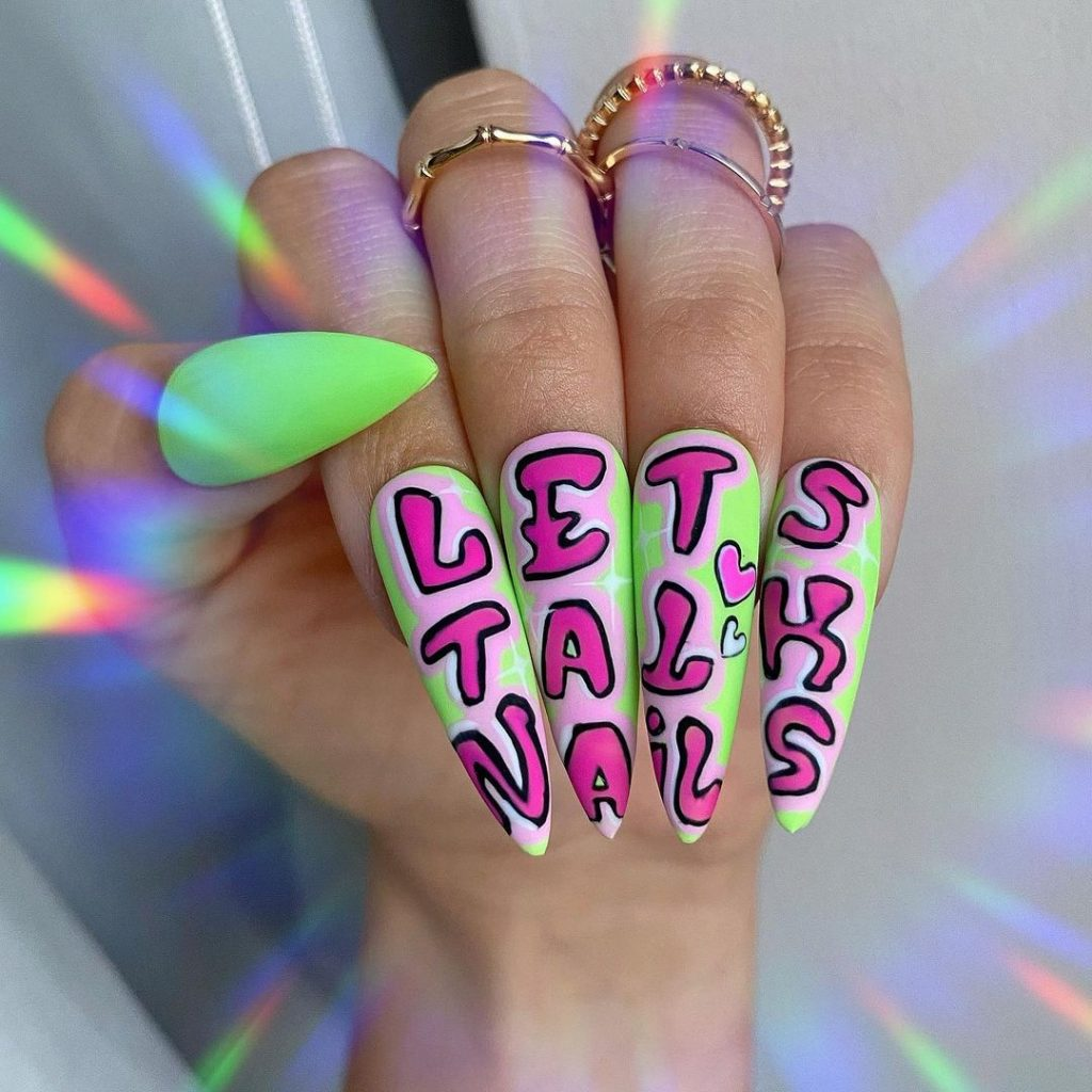 Stiletto Pink and Green Nails