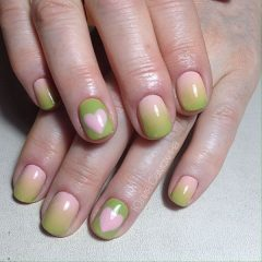 Nail Art with Pink and Green Nails