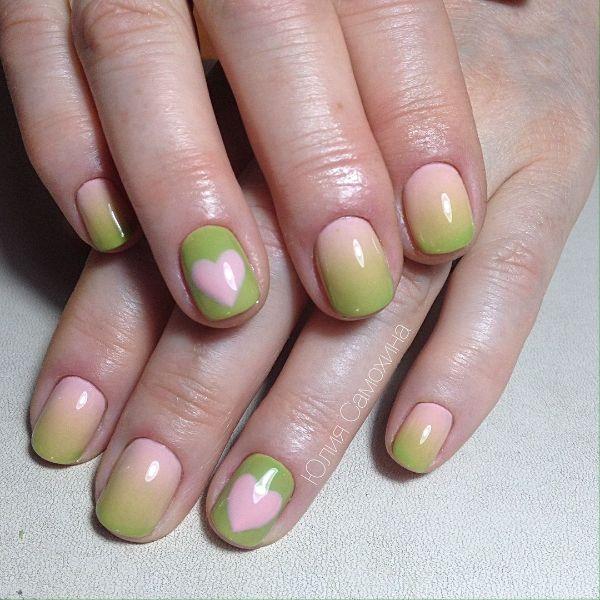 Nail Art with Pink and Green Nails