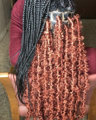 Red Butterfly Braids with Single Braids