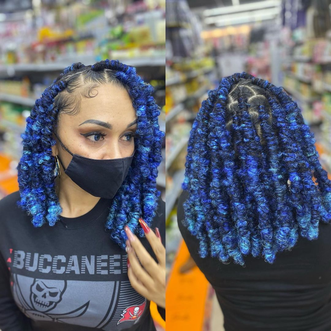 Thick Denim-Blue Butterfly Locs
