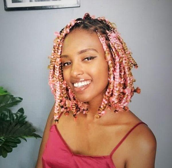Rose Pink Bob with Jungle Braids