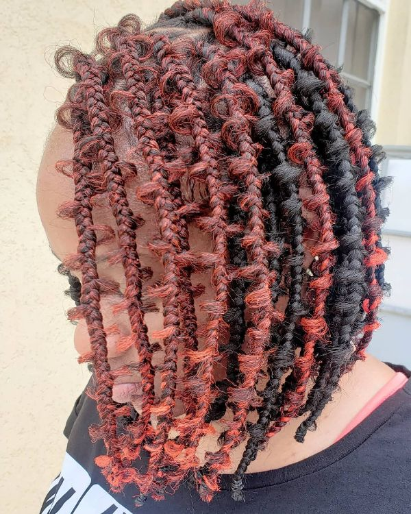 Black and Red Bob Jungle Braids Knotless