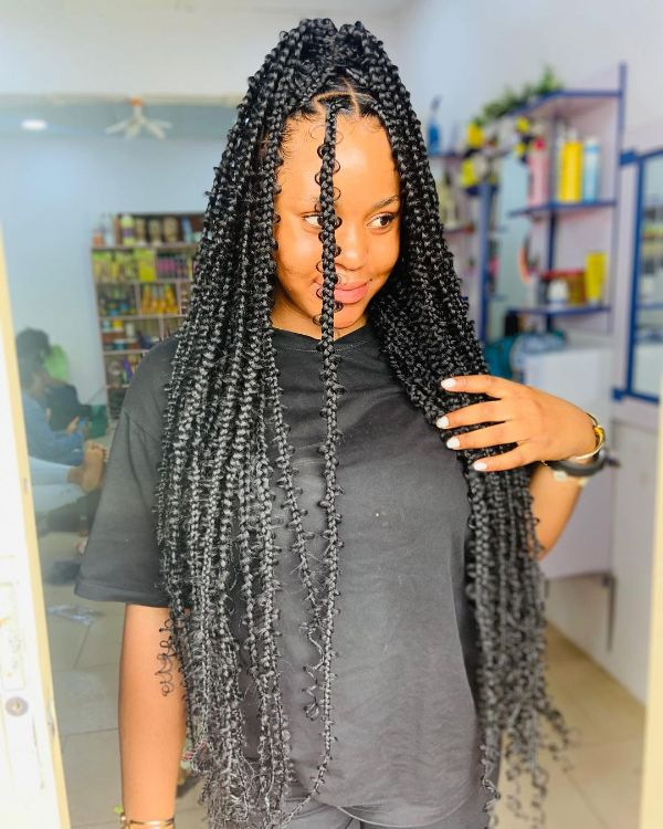 Extra Long Jungle Braids with Natural Hair