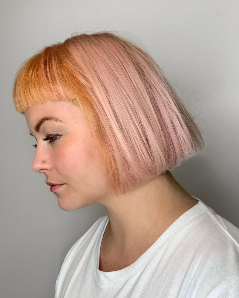 Rose Gold and Pink Colored Fringe Bangs
