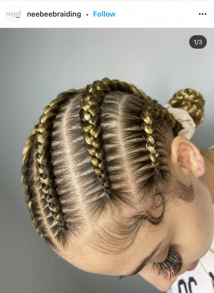 Stitch Braids with Blonde Hair Color