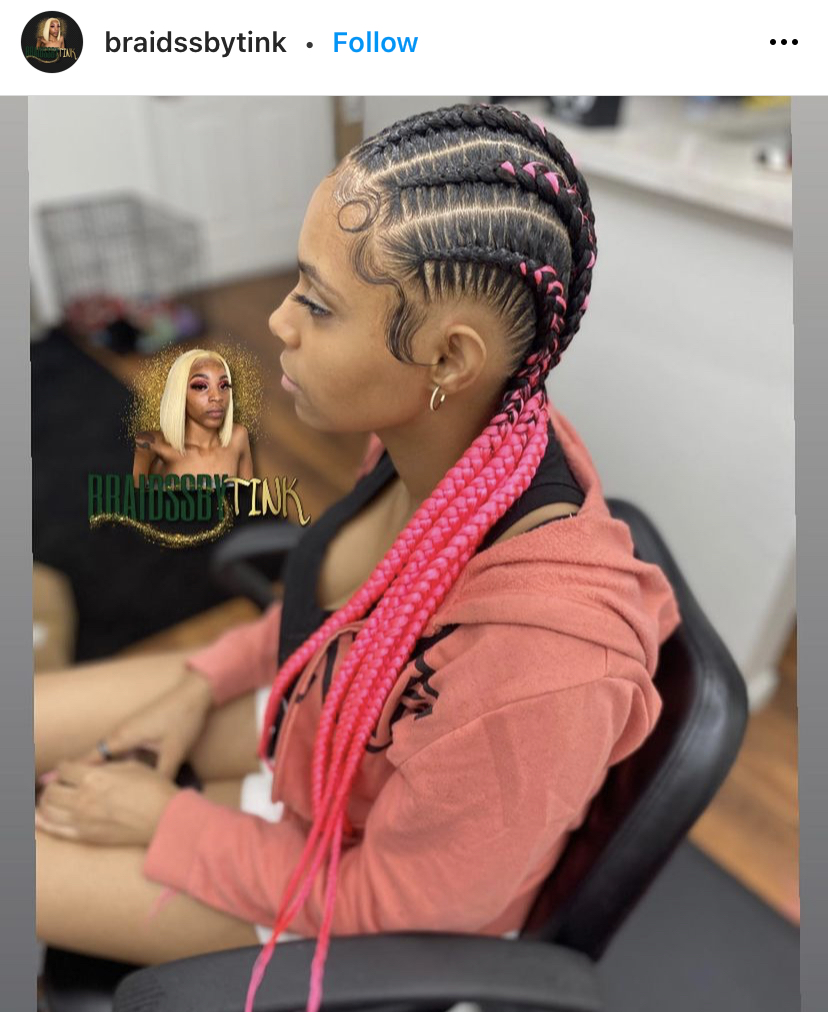 Pink Stitch Braids with Extensions