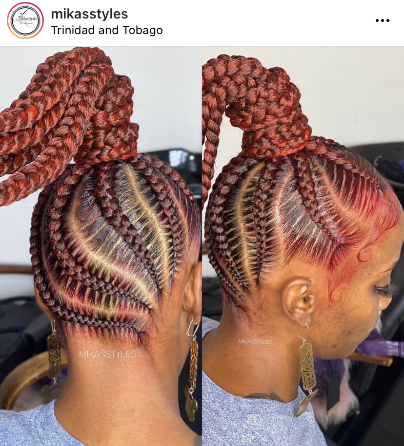 Red Stitch Braids Hairstyle for a Woman