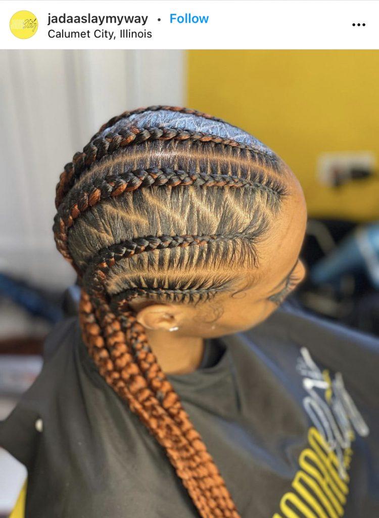 Ladies Stitch Braids Hairstyle