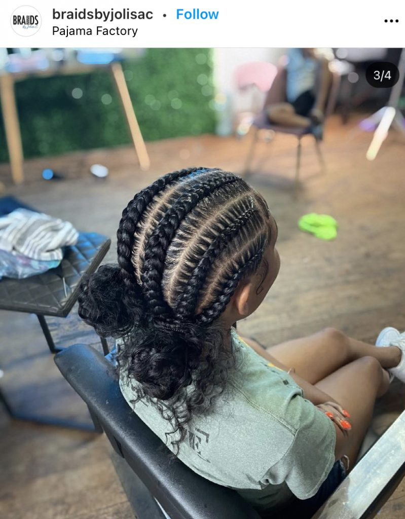 Stitch Braids with Two Curly Space Buns