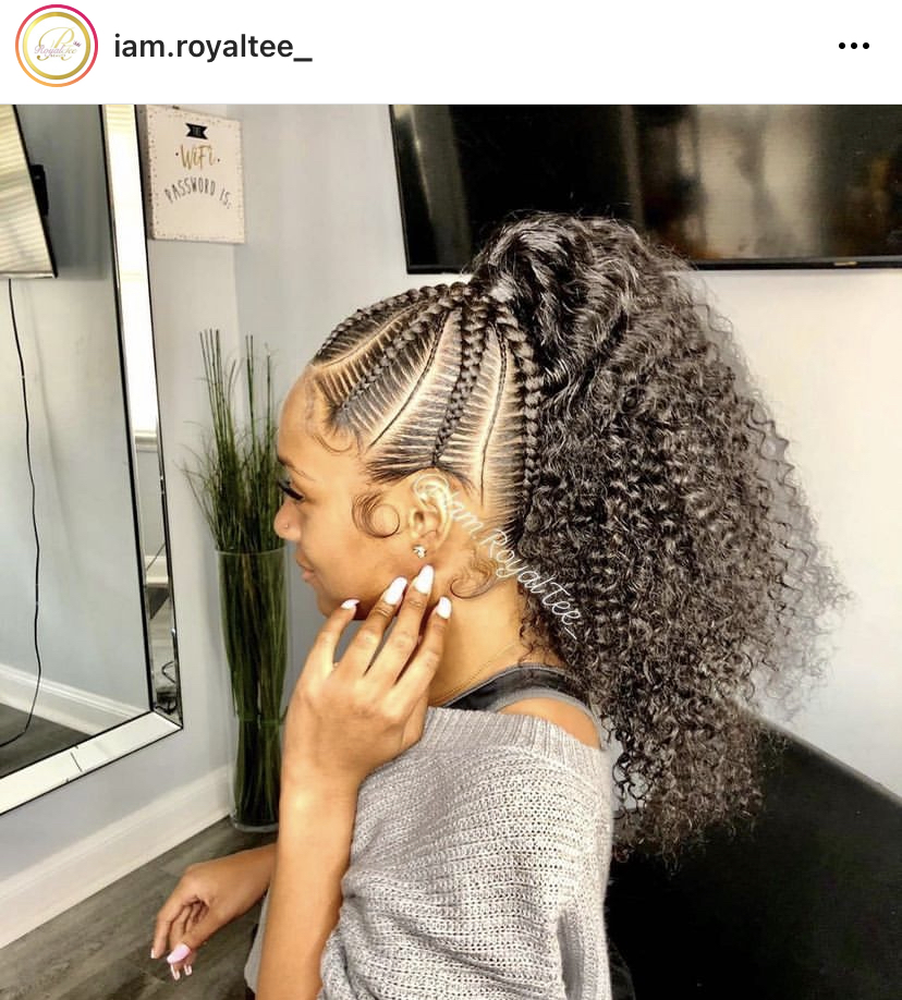 Girlish Stitch Braids Hairstyle with a Curly Ponytail