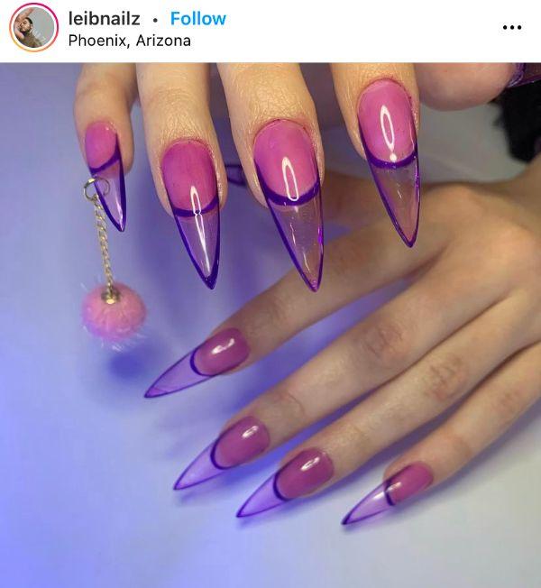 Lilac Pierced Nails