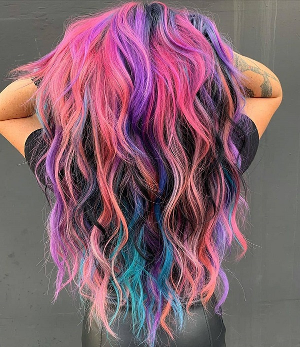 Blue and Pink Colored Hairstyle