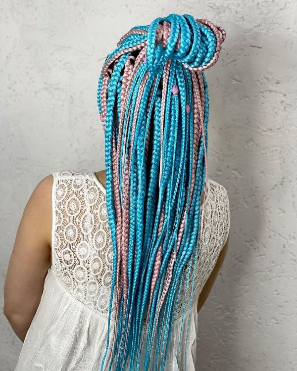 Pink and Blue Braided Hairstyle Long