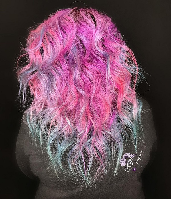 Pink and Blue Messy Shaggy Hair