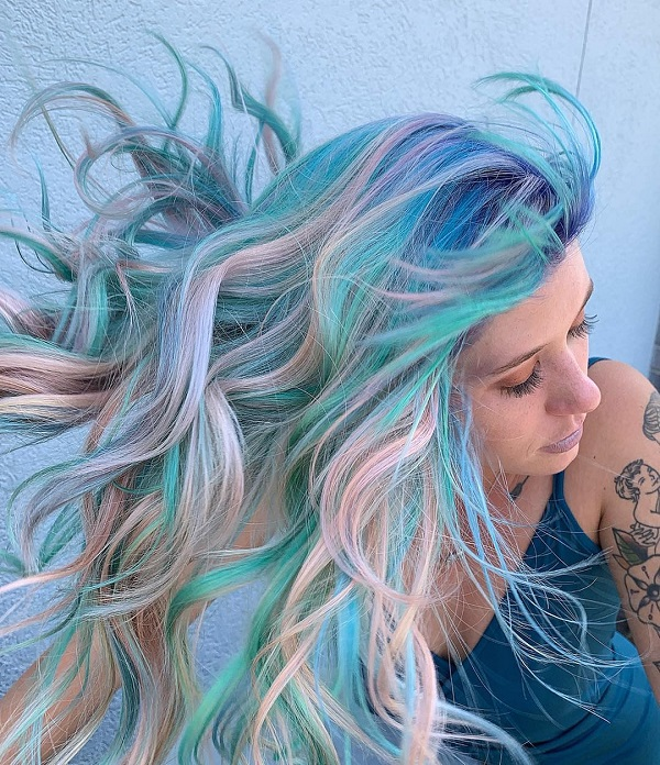Blue and Pink Light Hair