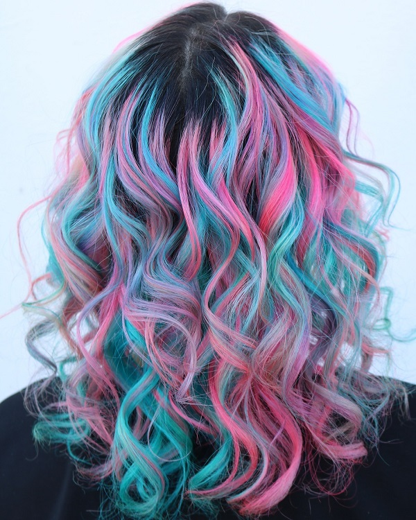 Pink and Blue Curly Hair