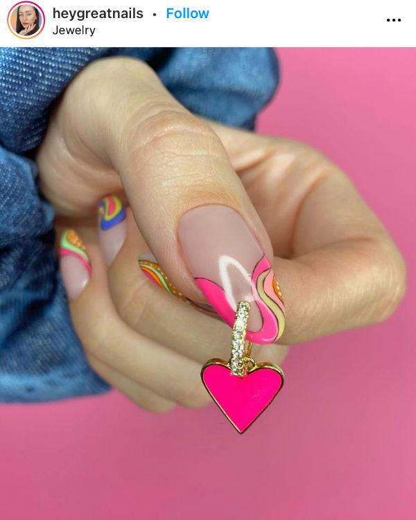 Pink Pierced Nails