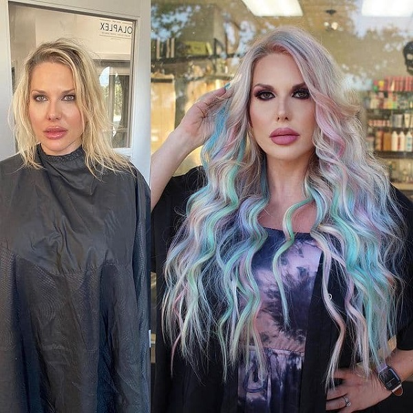 Blue and Pink Hairstyle with Long Extensions