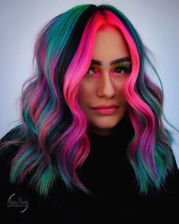 Pink and Blue  Face-Frame Hairstyle