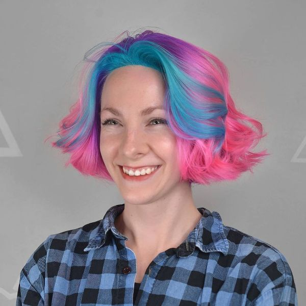 Short Curled Pink and Blue Hair