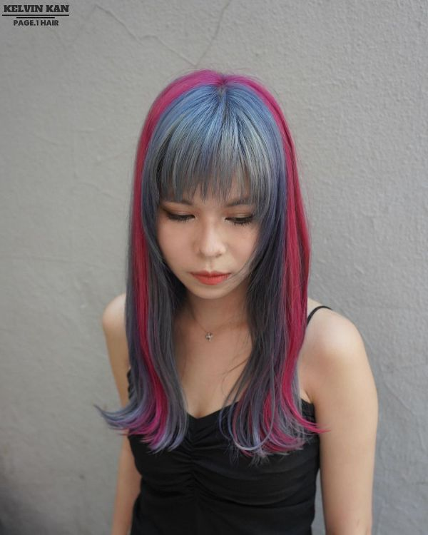 Asian Hairstyle in Pink and Blue Shades