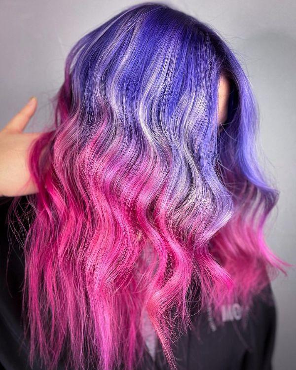Dark Blue and Pink Hair
