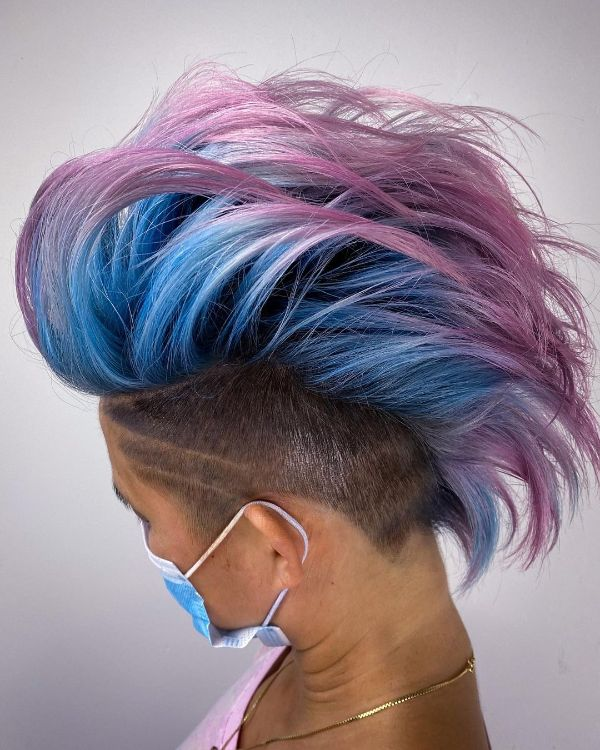 Pink and Blue Mohawk hairstyle for Women
