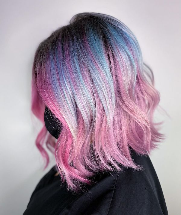 Mid-Length Pink and Blue Hair