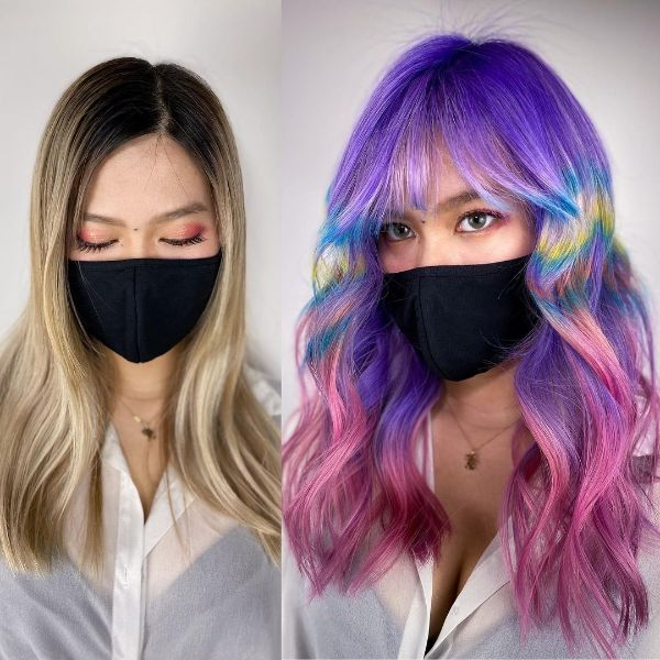 Blue and Pink Hairstyle with Bangs