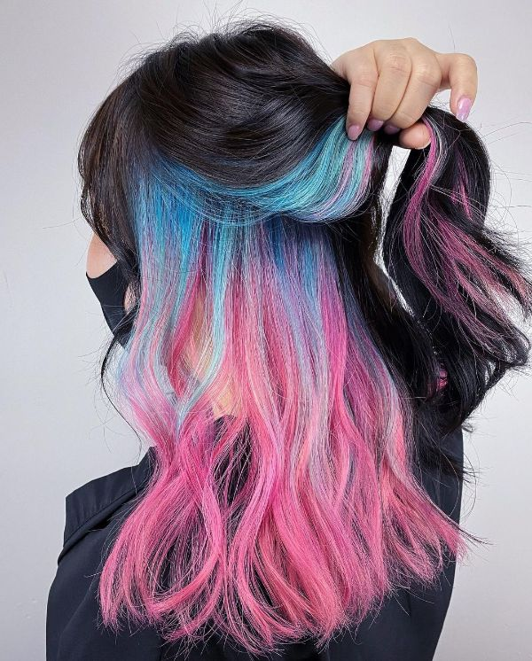 Pink and Blue Hair Underneath