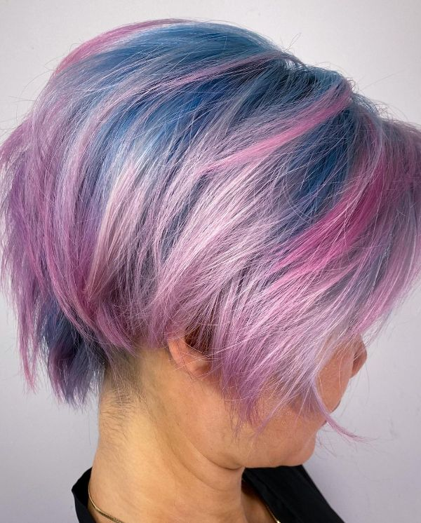 Pink and Blue Hair Older Women
