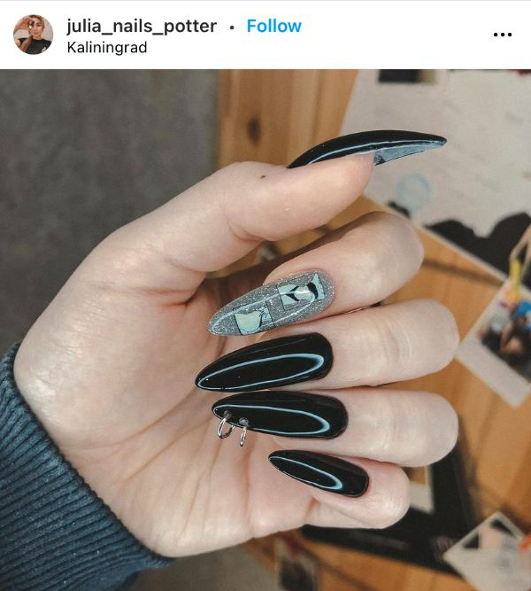 Gray and Black Pierced Nails