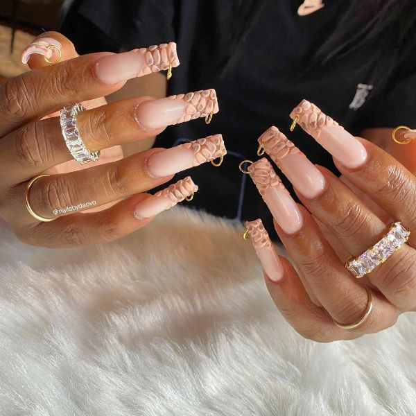 Beige Nails Design with Piercing
